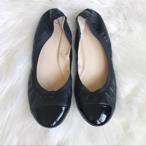 COLE HAAN 9 Black Leather Cap Toe Ballet Flats!